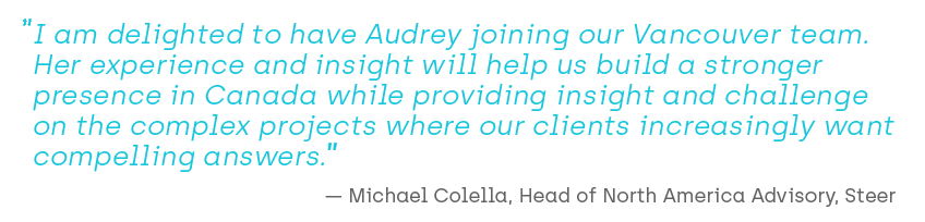 Quote about Audrey joining Steer