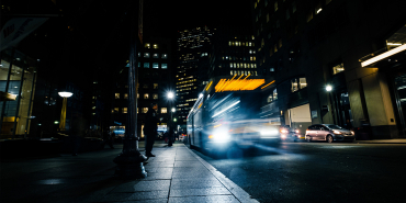 A bus travelling in the night time