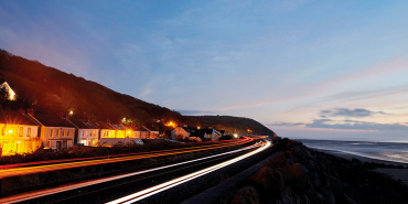 Rail line on coast of Wales